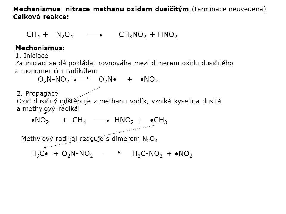H 3 C• + O 2 N-NO 2 H 3 C-NO 2 + •NO 2 Mechanismus: 1. Iniciace Za iniciaci se dá pokládat rovnováha mezi dimerem oxidu dusičitého a monomerním radiká