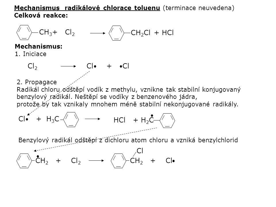 Mechanismus: 1. Iniciace 2. Propagace Radikál chloru odštěpí vodík z methylu, vznikne tak stabilní konjugovaný benzylový radikál. Neštěpí se vodíky z