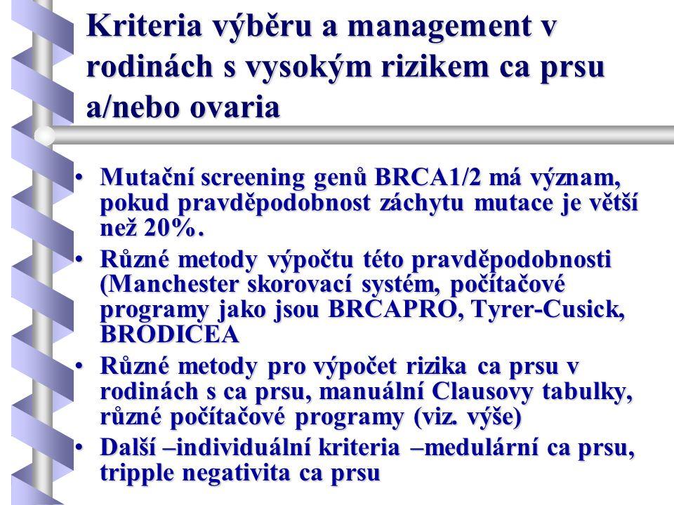 Kriteria výběru a management v rodinách s vysokým rizikem ca prsu a/nebo ovaria •Mutační screening genů BRCA1/2 má význam, pokud pravděpodobnost záchy