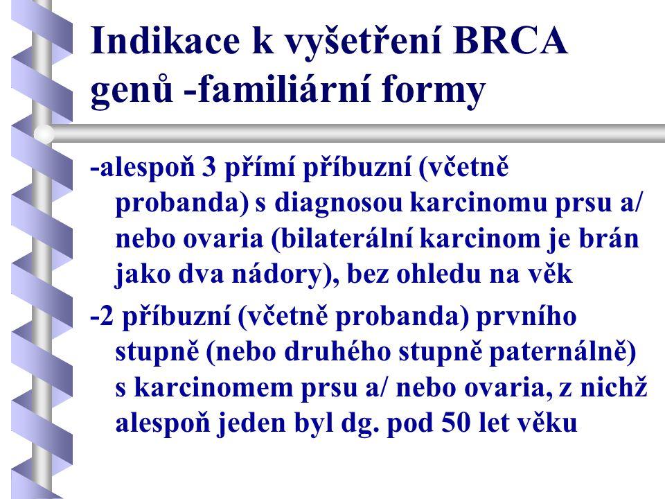 Indikace k vyšetření BRCA genů -familiární formy -alespoň 3 přímí příbuzní (včetně probanda) s diagnosou karcinomu prsu a/ nebo ovaria (bilaterální ka