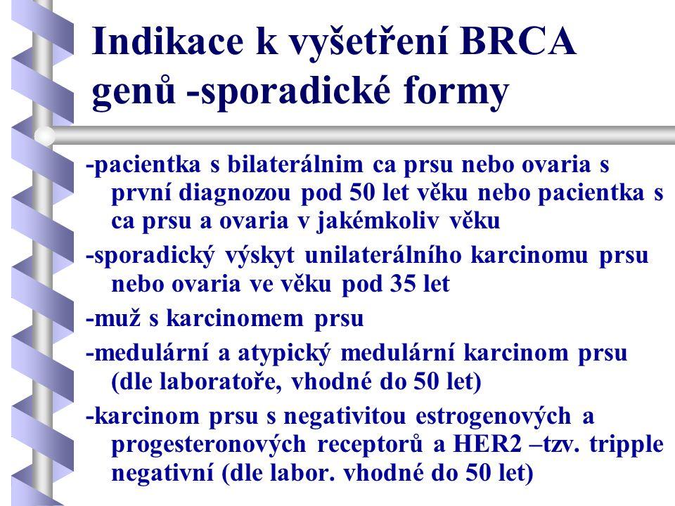 Indikace k vyšetření BRCA genů -sporadické formy -pacientka s bilaterálnim ca prsu nebo ovaria s první diagnozou pod 50 let věku nebo pacientka s ca p