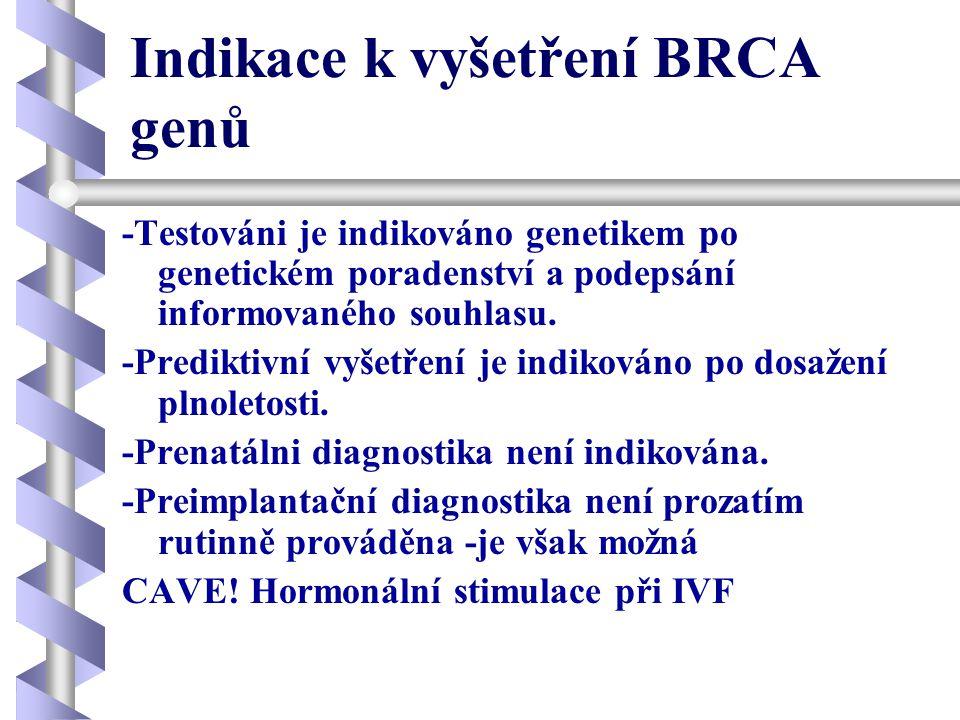 Indikace k vyšetření BRCA genů -Testováni je indikováno genetikem po genetickém poradenství a podepsání informovaného souhlasu. -Prediktivní vyšetření