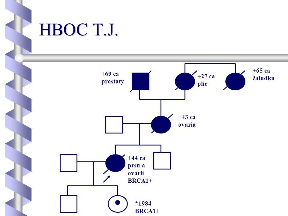 HBOC T.J. +44 ca prsu a ovarií BRCA1+ *1984 BRCA1+ +43 ca ovaria +65 ca žaludku +27 ca plic +69 ca prostaty