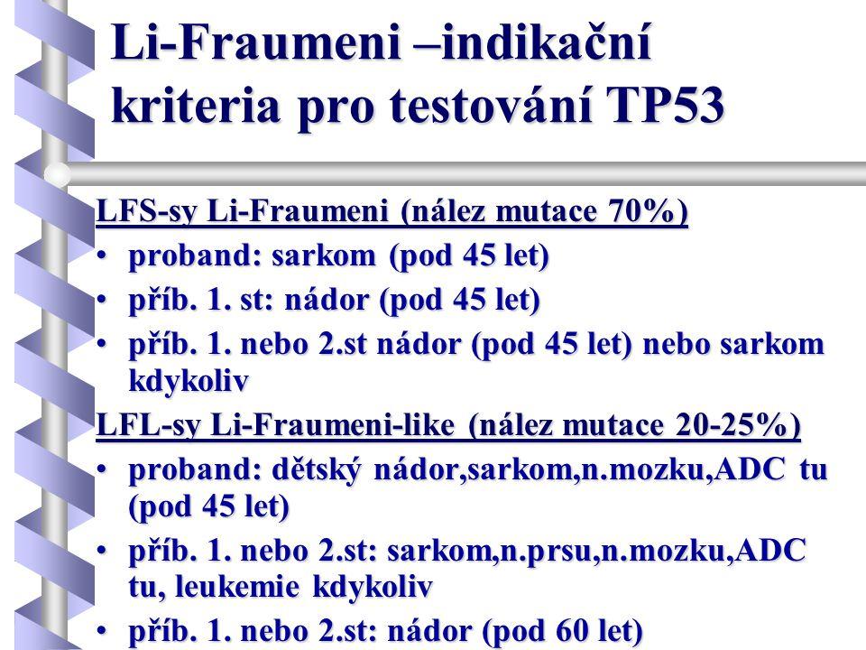 Li-Fraumeni –indikační kriteria pro testování TP53 LFS-sy Li-Fraumeni (nález mutace 70%) •proband: sarkom (pod 45 let) •příb. 1. st: nádor (pod 45 let