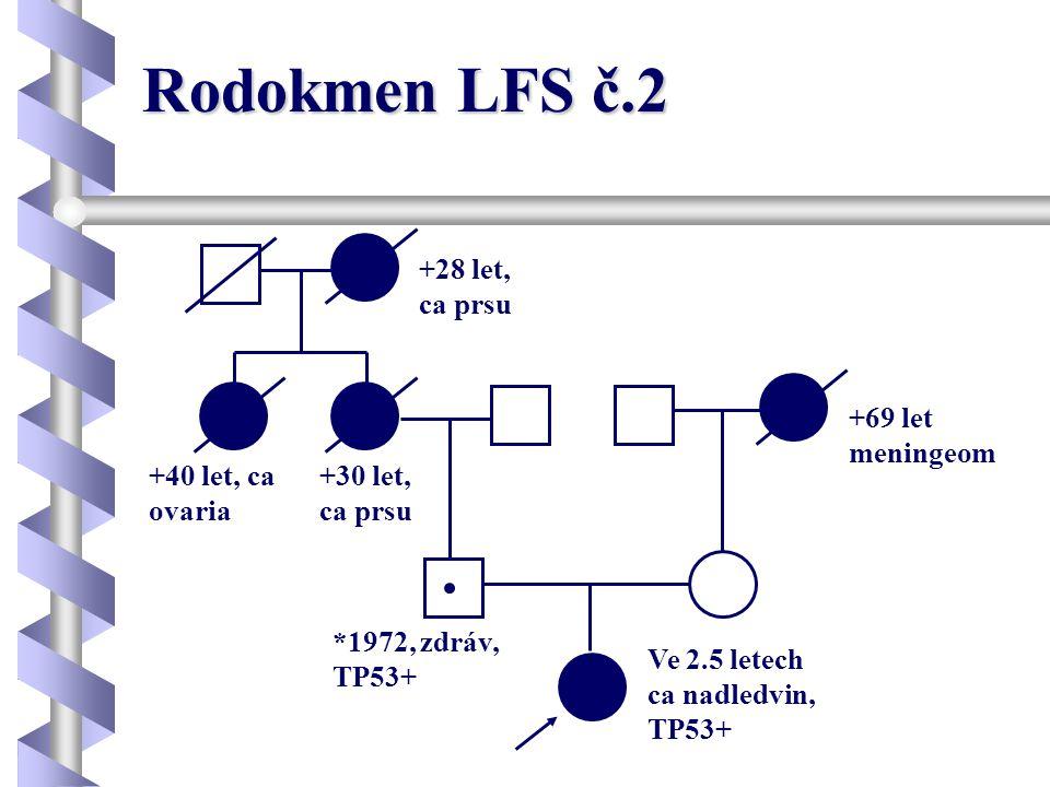 Rodokmen LFS č.2 Ve 2.5 letech ca nadledvin, TP53+ *1972, zdráv, TP53+ +69 let meningeom +30 let, ca prsu +40 let, ca ovaria +28 let, ca prsu