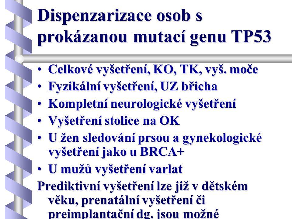 Dispenzarizace osob s prokázanou mutací genu TP53 •Celkové vyšetření, KO, TK, vyš. moče •Fyzikální vyšetření, UZ břicha •Kompletní neurologické vyšetř