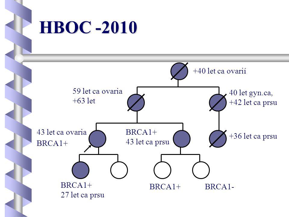 HBOC -2010 +40 let ca ovarií 40 let gyn.ca, +42 let ca prsu +36 let ca prsu 43 let ca ovaria BRCA1+ 59 let ca ovaria +63 let BRCA1+BRCA1- BRCA1+ 27 le