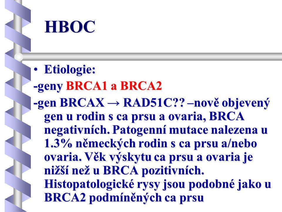 Rizika ca u nosiče/ky mutace genu BRCA1 Ca prsu do 40 let 19% Ca prsu do 70 let až 85% Metachronní ca prsu 37-52% Ca ovarií 26-80% Maligní melanom RR=2.58 Kolorektální ca RR=4.11 Ca prostaty RR=3.33