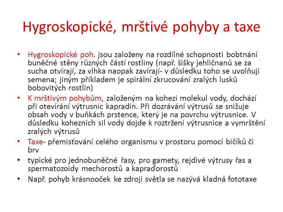 Hygroskopické, mrštivé pohyby a taxe • Hygroskopické poh. jsou založeny na rozdílné schopnosti bobtnání buněčné stěny různých částí rostliny (např. ši
