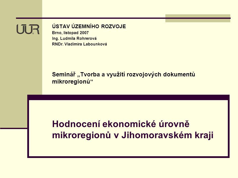 2 Hodnocení ekonomické úrovně mikroregionů v Jihomoravském kraji – rok 2004 Cíl úkolu – zhodnotit ekonomickou úroveň dobrovolných, zdola vznikajících mikroregionů Jihomoravského kraje na základě dostupných dat.