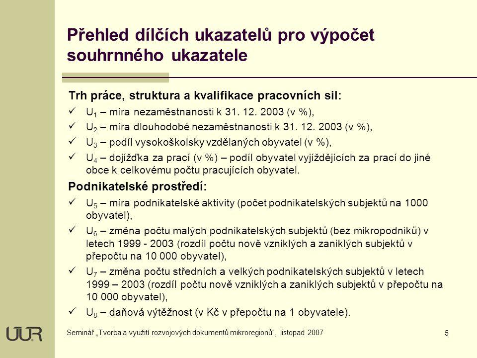 """5 Seminář """"Tvorba a využití rozvojových dokumentů mikroregionů , listopad 2007 Přehled dílčích ukazatelů pro výpočet souhrnného ukazatele Trh práce, struktura a kvalifikace pracovních sil:  U 1 – míra nezaměstnanosti k 31."""