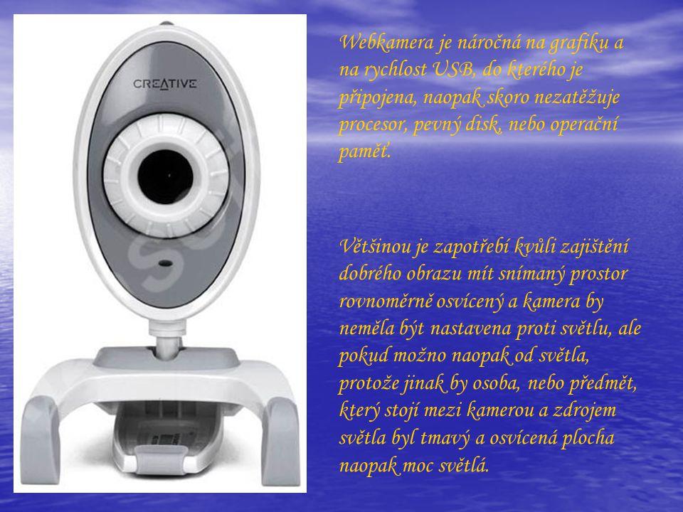 Webkamera je náročná na grafiku a na rychlost USB, do kterého je připojena, naopak skoro nezatěžuje procesor, pevný disk, nebo operační paměť. Většino