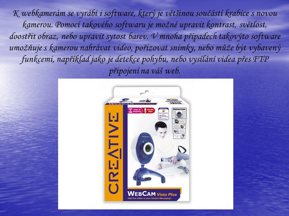 K webkamerám se vyrábí i software, který je většinou součástí krabice s novou kamerou. Pomocí takového softwaru je možné upravit kontrast, světlost, d