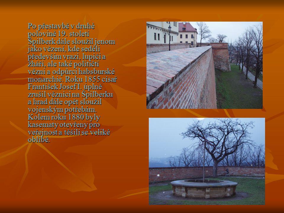 Po přestavbě v druhé polovině 19. století Špilberk dále sloužil jenom jako vězení, kde seděli především vrazi, lupiči a žháři, ale také političtí vězn
