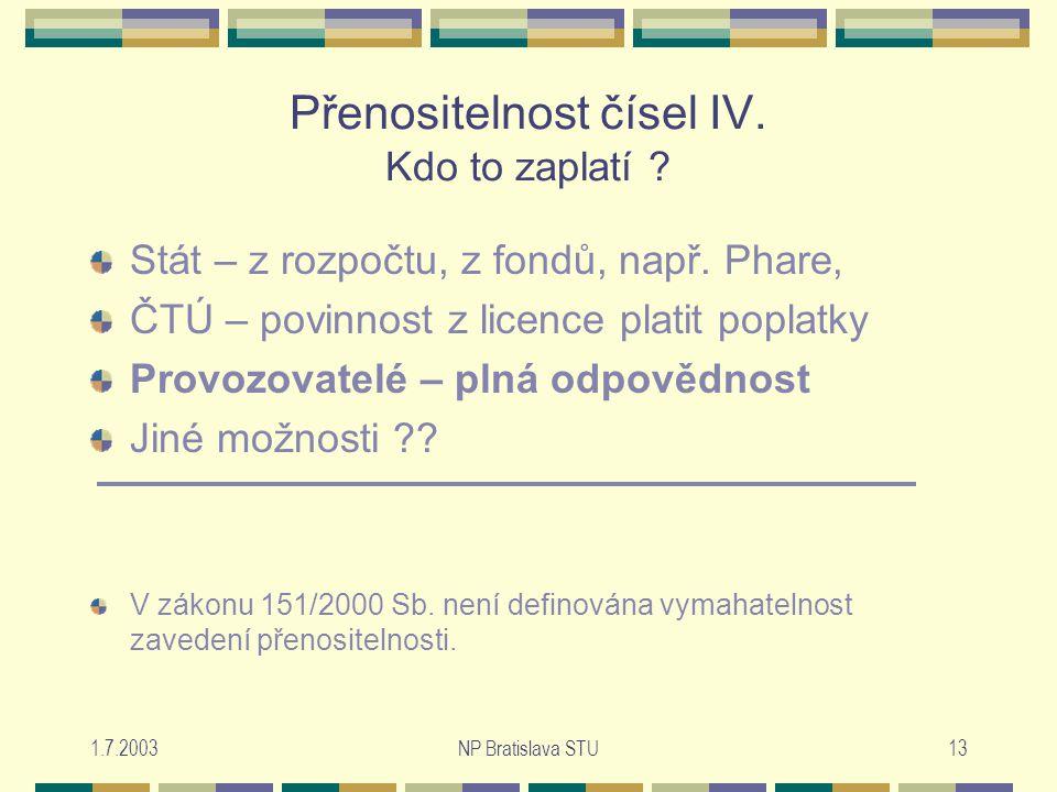 1.7.2003NP Bratislava STU13 Přenositelnost čísel IV.