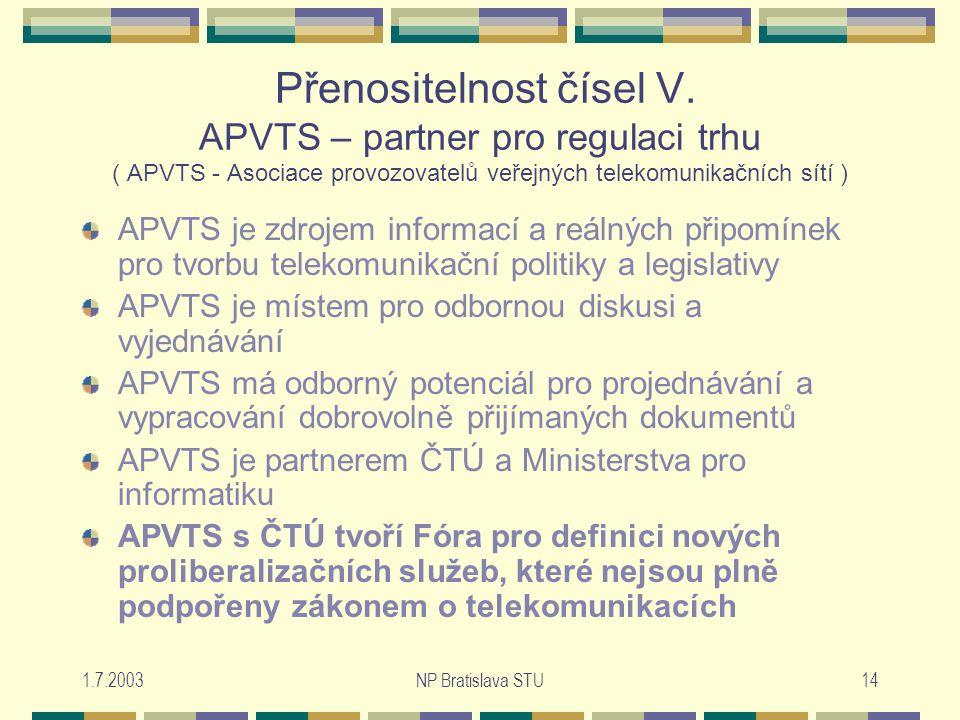 1.7.2003NP Bratislava STU14 Přenositelnost čísel V.