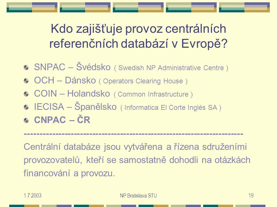 1.7.2003NP Bratislava STU19 Kdo zajišťuje provoz centrálních referenčních databází v Evropě.