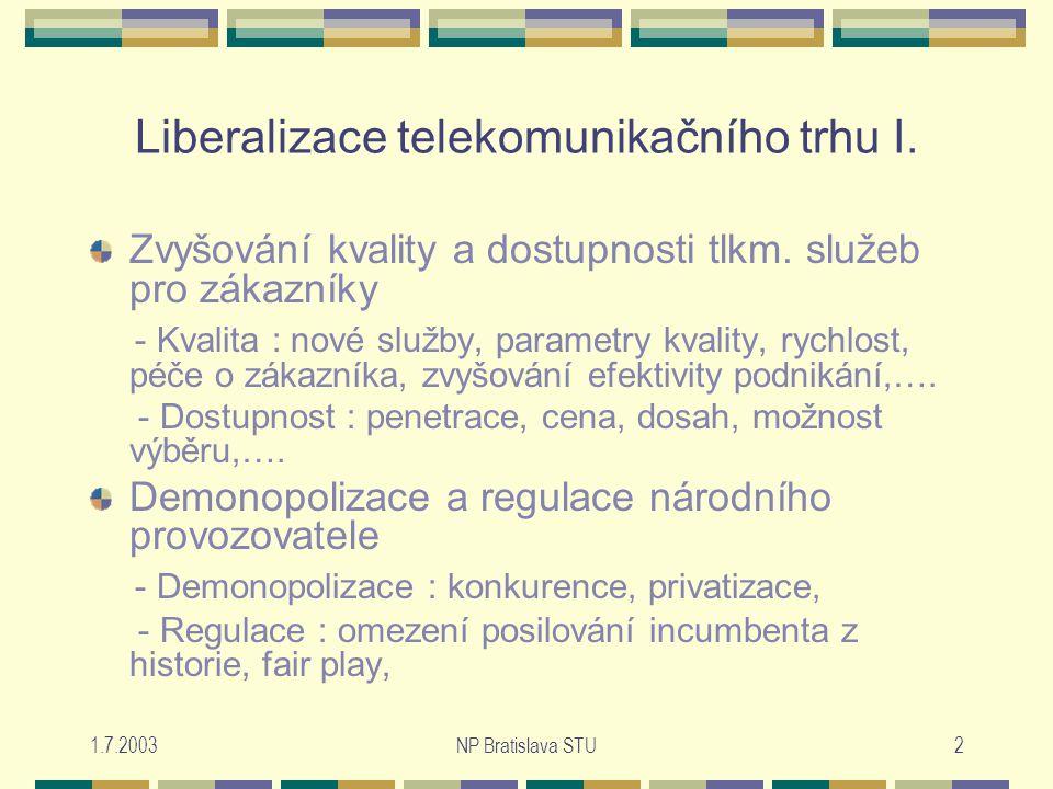 1.7.2003NP Bratislava STU2 Liberalizace telekomunikačního trhu I.