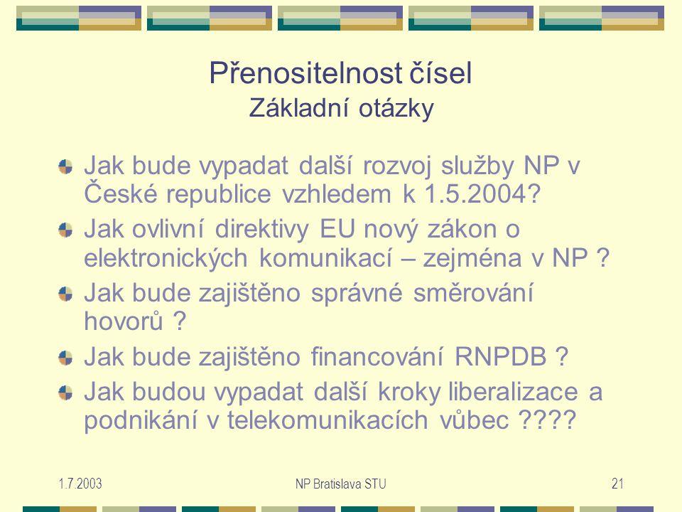 1.7.2003NP Bratislava STU21 Přenositelnost čísel Základní otázky Jak bude vypadat další rozvoj služby NP v České republice vzhledem k 1.5.2004.