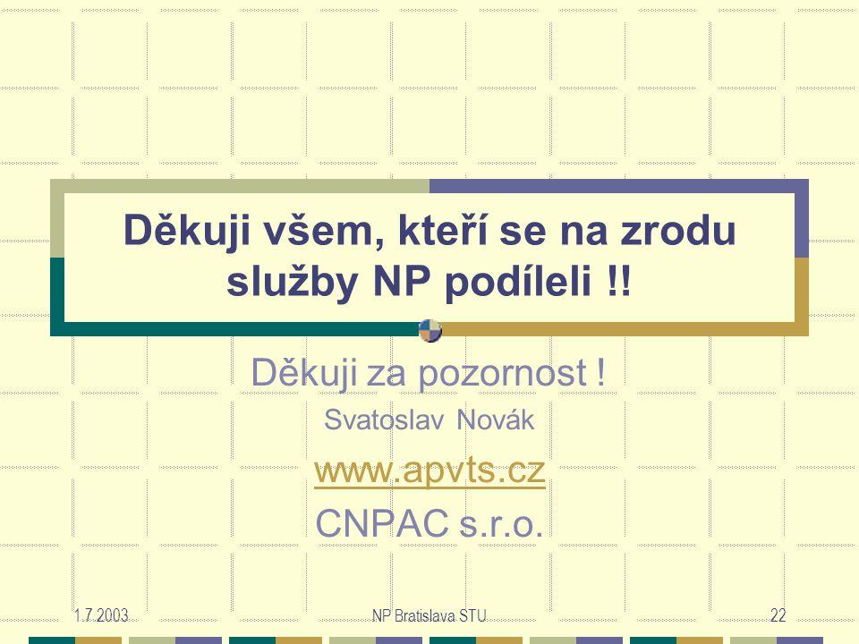 1.7.2003NP Bratislava STU22 Děkuji všem, kteří se na zrodu služby NP podíleli !.