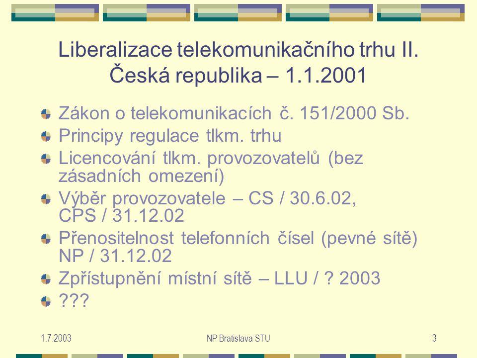 1.7.2003NP Bratislava STU3 Liberalizace telekomunikačního trhu II.