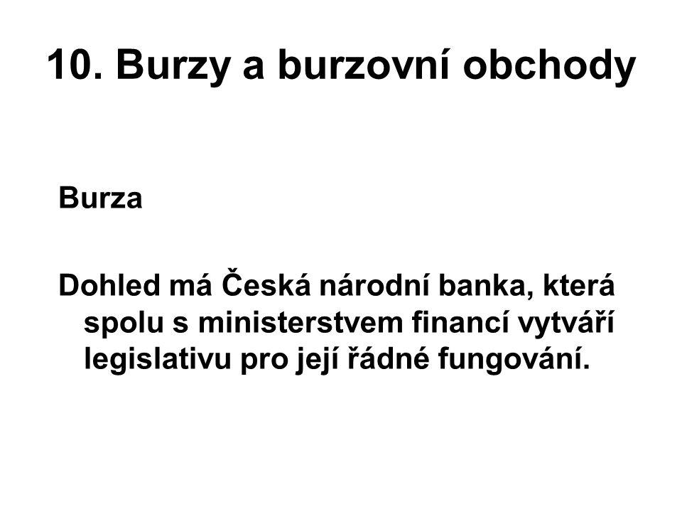 10. Burzy a burzovní obchody Burza Dohled má Česká národní banka, která spolu s ministerstvem financí vytváří legislativu pro její řádné fungování.