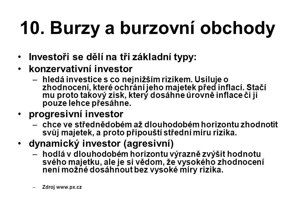 10. Burzy a burzovní obchody •Investoři se dělí na tři základní typy: •konzervativní investor –hledá investice s co nejnižším rizikem. Usiluje o zhodn