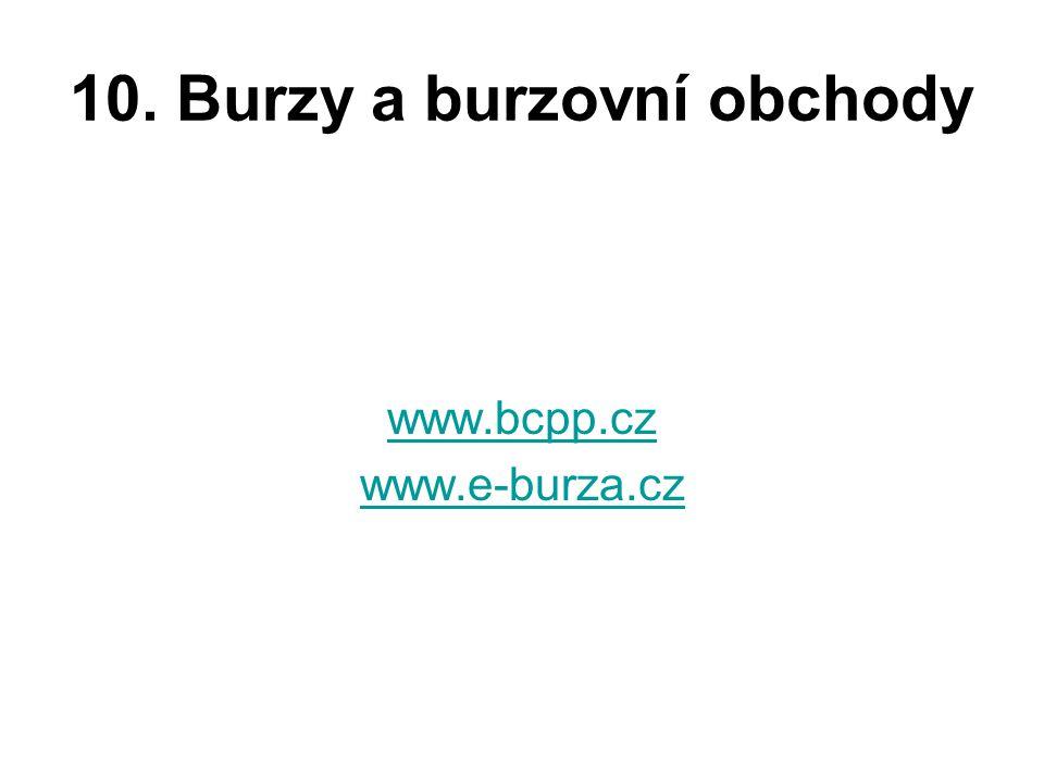 10. Burzy a burzovní obchody www.bcpp.cz www.e-burza.cz