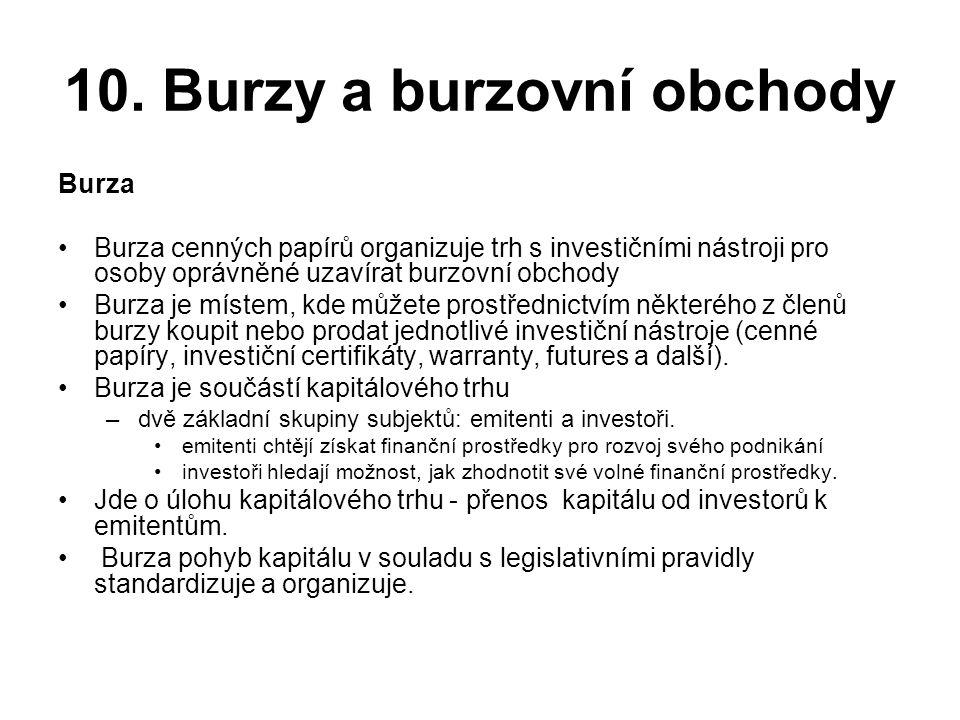 10. Burzy a burzovní obchody Burza •Burza cenných papírů organizuje trh s investičními nástroji pro osoby oprávněné uzavírat burzovní obchody •Burza j