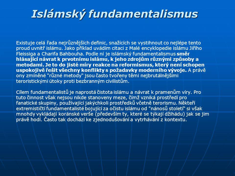 Islámský fundamentalismus Vypracováno: říjen 2003 Vypracoval: Michal Dvořák Zbyněk Poulíček Zbyněk Poulíček