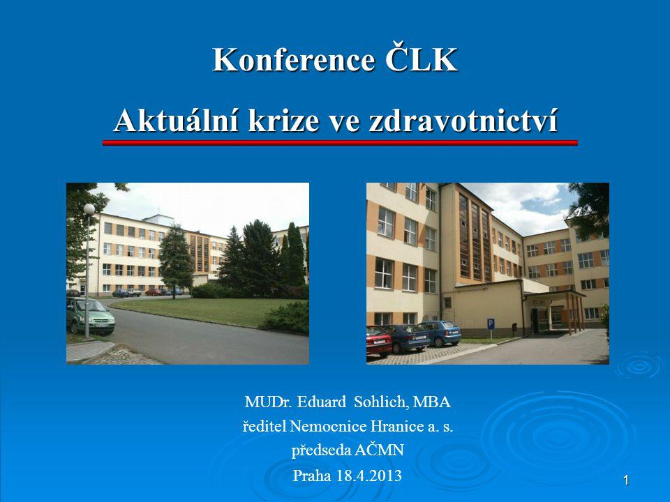 1 Konference ČLK Aktuální krize ve zdravotnictví MUDr. Eduard Sohlich, MBA ředitel Nemocnice Hranice a. s. předseda AČMN Praha 18.4.2013