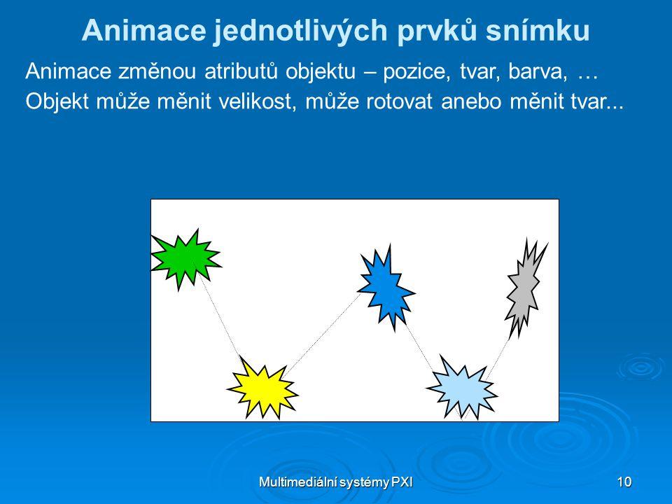 Multimediální systémy PXI 10 Animace jednotlivých prvků snímku Animace změnou atributů objektu – pozice, tvar, barva, … Objekt může měnit velikost, může rotovat anebo měnit tvar...
