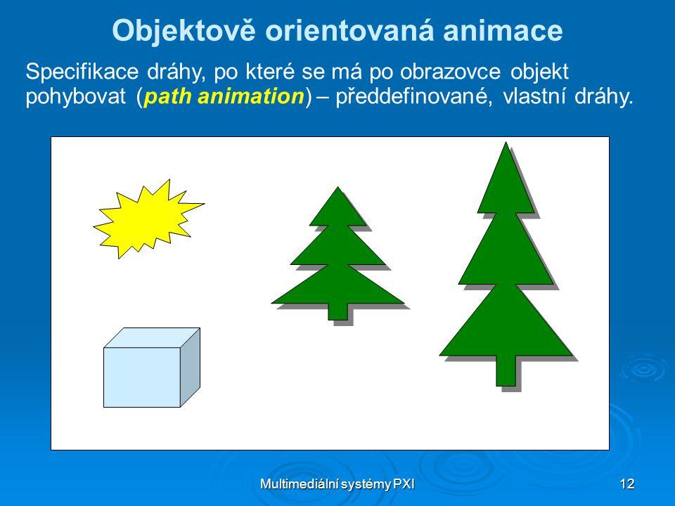 Multimediální systémy PXI 12 Objektově orientovaná animace Specifikace dráhy, po které se má po obrazovce objekt pohybovat (path animation) – předdefinované, vlastní dráhy.