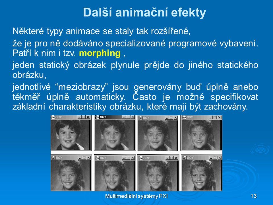 Multimediální systémy PXI 13 Další animační efekty Některé typy animace se staly tak rozšířené, že je pro ně dodáváno specializované programové vybavení.