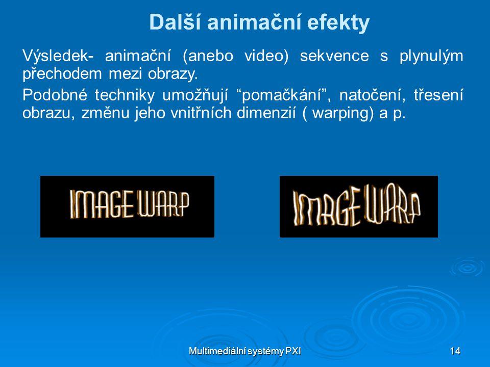 Multimediální systémy PXI 14 Další animační efekty Výsledek- animační (anebo video) sekvence s plynulým přechodem mezi obrazy.