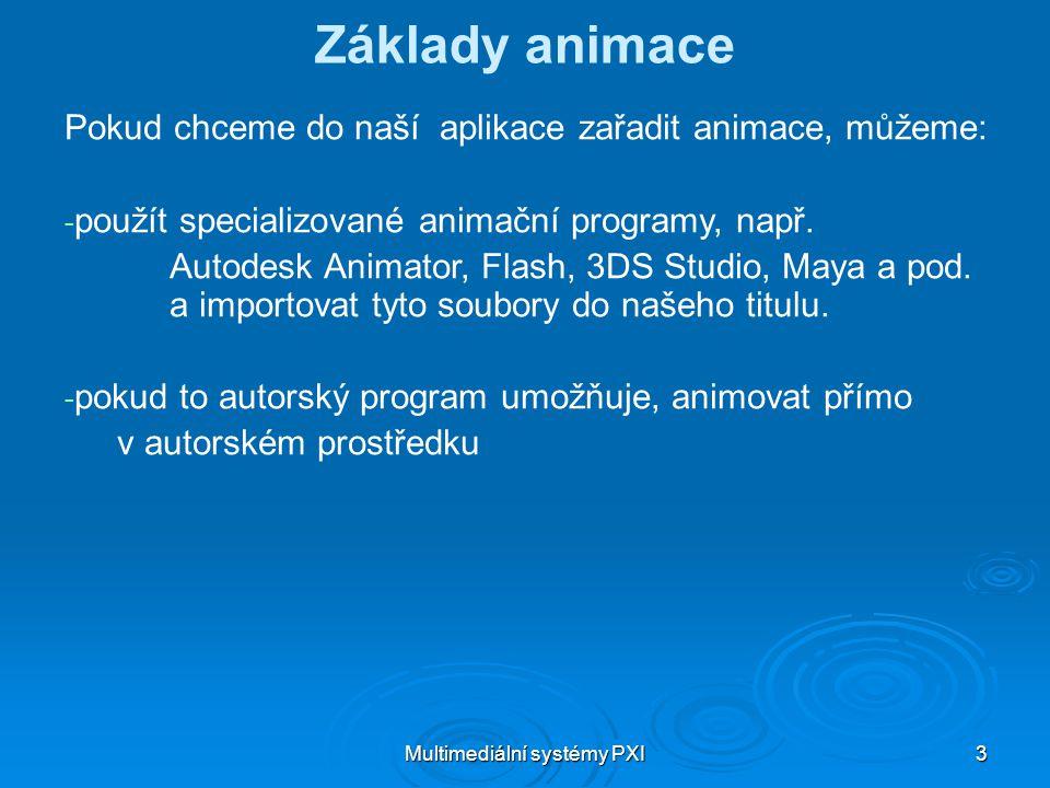 Multimediální systémy PXI 3 Základy animace Pokud chceme do naší aplikace zařadit animace, můžeme: - - použít specializované animační programy, např.