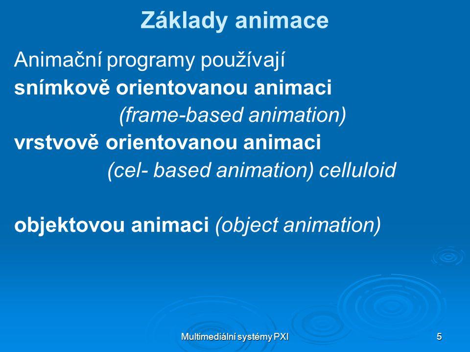 Multimediální systémy PXI 5 Základy animace Animační programy používají snímkově orientovanou animaci (frame-based animation) vrstvově orientovanou animaci (cel- based animation) celluloid objektovou animaci (object animation)