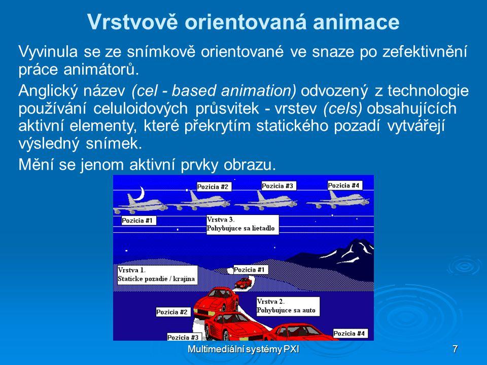 Multimediální systémy PXI 7 Vrstvově orientovaná animace Vyvinula se ze snímkově orientované ve snaze po zefektivnění práce animátorů.
