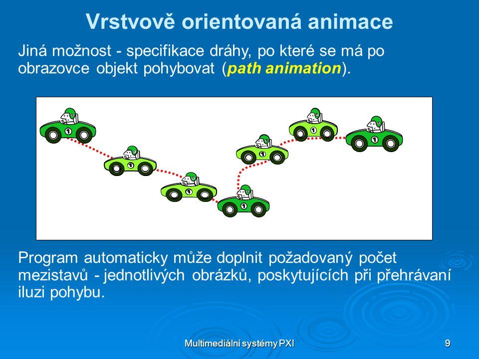 Multimediální systémy PXI 9 Vrstvově orientovaná animace Jiná možnost - specifikace dráhy, po které se má po obrazovce objekt pohybovat (path animation).