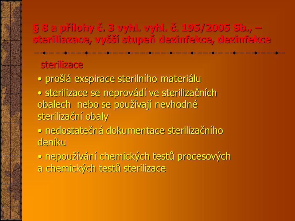 sterilizace sterilizace • prošlá exspirace sterilního materiálu • sterilizace se neprovádí ve sterilizačních obalech nebo se používají nevhodné steril