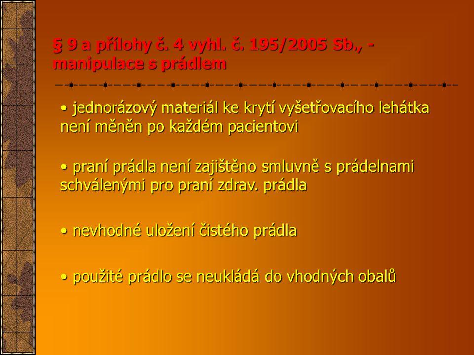 § 9 a přílohy č. 4 vyhl. č. 195/2005 Sb., - manipulace s prádlem • jednorázový materiál ke krytí vyšetřovacího lehátka není měněn po každém pacientovi