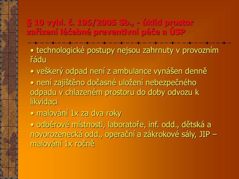 § 10 vyhl. č. 195/2005 Sb., - úklid prostor zařízení léčebné preventivní péče a ÚSP • technologické postupy nejsou zahrnuty v provozním řádu • veškerý