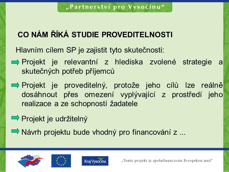 CO NÁM ŘÍKÁ STUDIE PROVEDITELNOSTI Projekt je relevantní z hlediska zvolené strategie a skutečných potřeb příjemců Návrh projektu bude vhodný pro fina