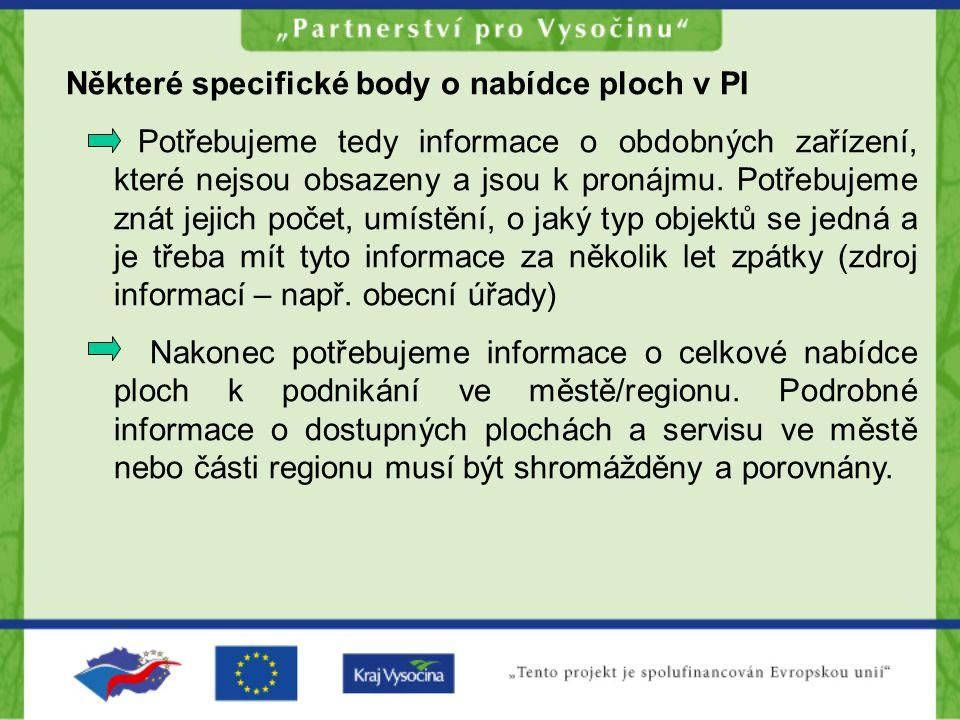 Některé specifické body o nabídce ploch v PI Potřebujeme tedy informace o obdobných zařízení, které nejsou obsazeny a jsou k pronájmu. Potřebujeme zná
