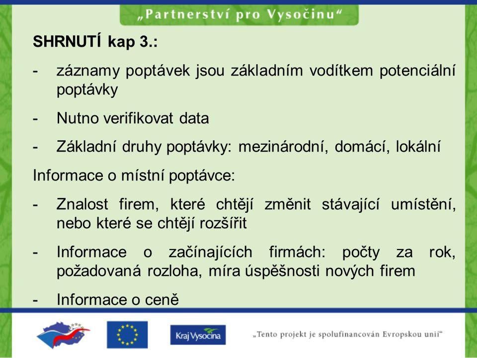 SHRNUTÍ kap 3.: -záznamy poptávek jsou základním vodítkem potenciální poptávky -Nutno verifikovat data -Základní druhy poptávky: mezinárodní, domácí,