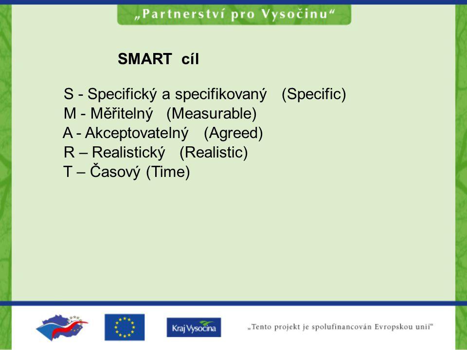 SMART cíl S - Specifický a specifikovaný (Specific) M - Měřitelný (Measurable) A - Akceptovatelný (Agreed) R – Realistický (Realistic) T – Časový (Tim