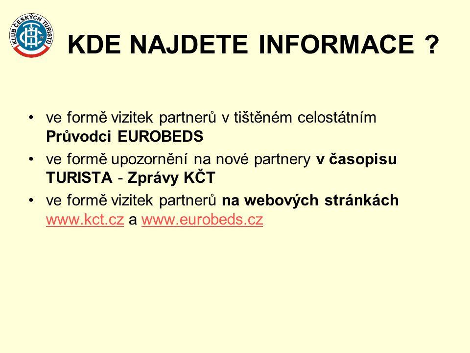 KDE NAJDETE INFORMACE ? •ve formě vizitek partnerů v tištěném celostátním Průvodci EUROBEDS •ve formě upozornění na nové partnery v časopisu TURISTA -