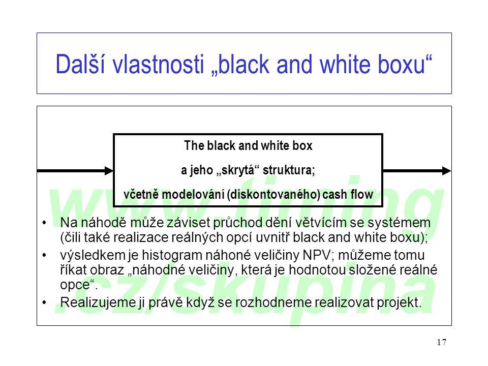 """www.timing.cz/skupina 17 Další vlastnosti """"black and white boxu"""" •Na náhodě může záviset průchod dění větvícím se systémem (čili také realizace reálný"""