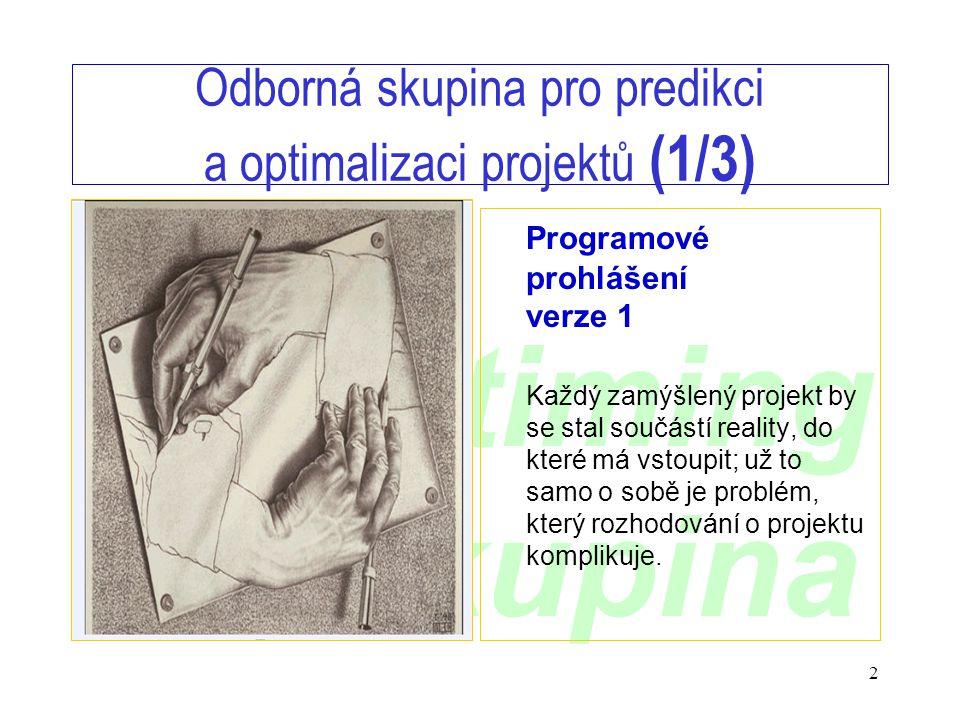 www.timing.cz/skupina 2 Odborná skupina pro predikci a optimalizaci projektů (1/3) Programové prohlášení verze 1 Každý zamýšlený projekt by se stal součástí reality, do které má vstoupit; už to samo o sobě je problém, který rozhodování o projektu komplikuje.
