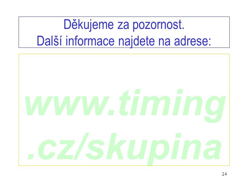 www.timing.cz/skupina 24 Děkujeme za pozornost. Další informace najdete na adrese: